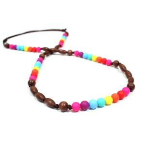 Elements RAINBOW Dark wood 1 - Elements Rainbow Silicone dark wood teething nursing necklace