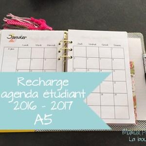 Recharge agenda étudiant 2016 * 2017 - Format A5