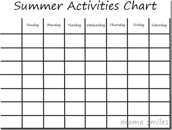 Summer Boredom Busters Kids Activities Chart ~ Mama Smiles