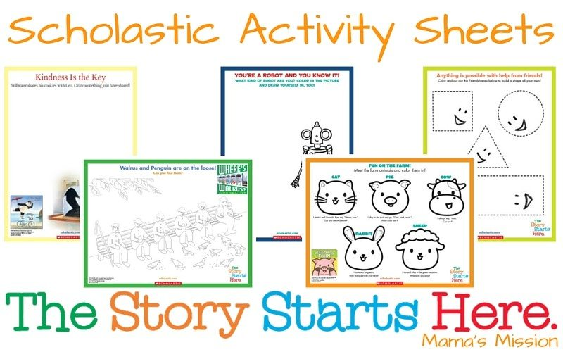 Scholastic Activity Sheets Printables from The Story Starts Here