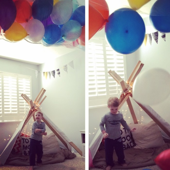DIY teepee for a child's reading nook.