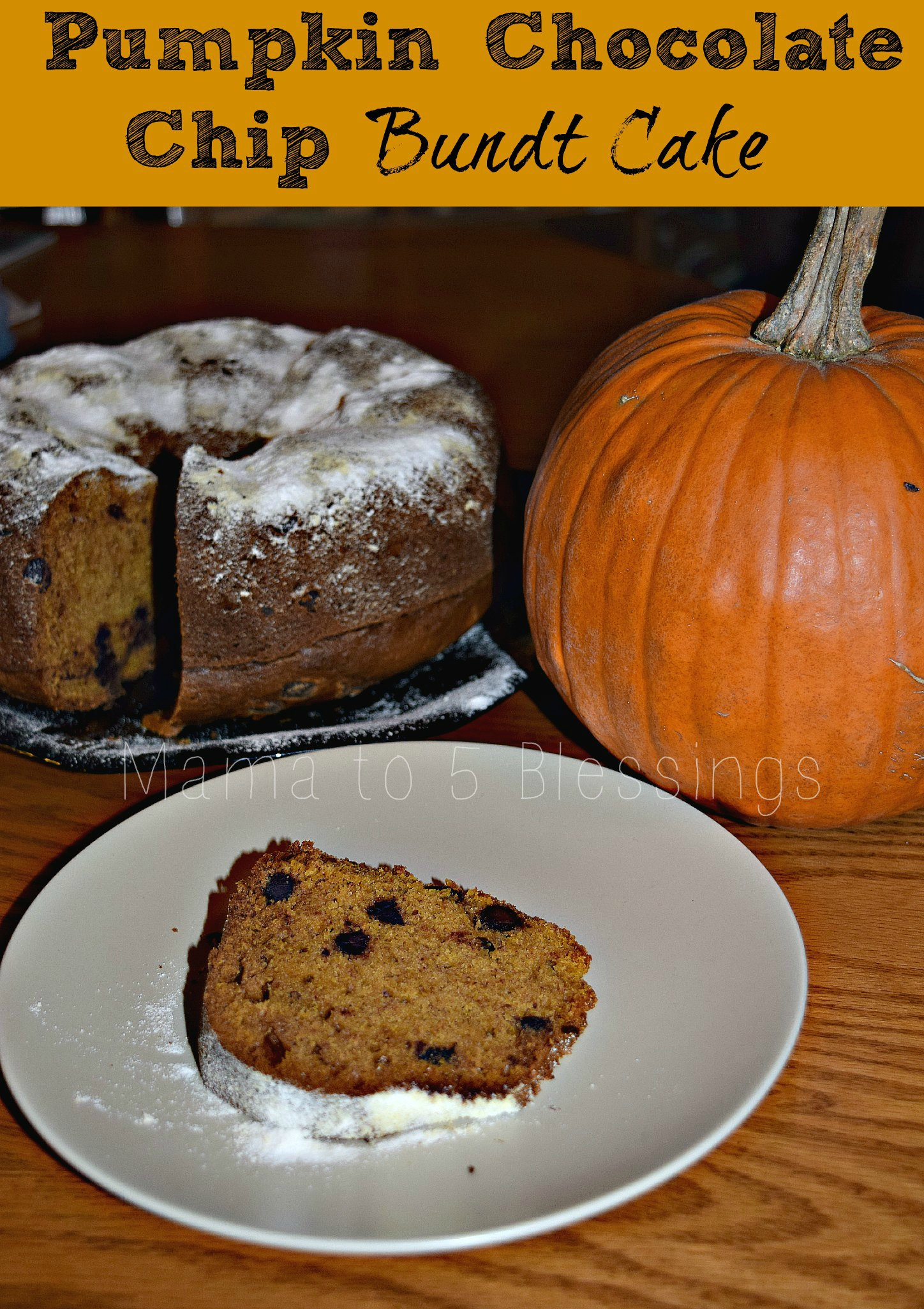 Travel System Toddler Chocolate Chip Pumpkin Bunt Cake With Powdered Sugar Topping