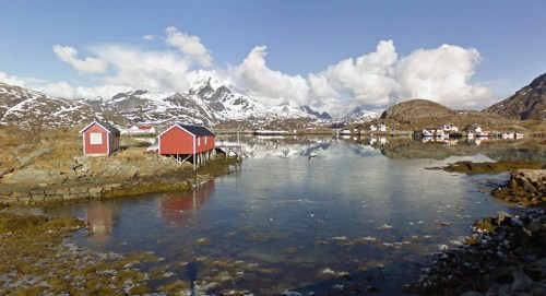 A village at the end of the road, near Sund, Norway