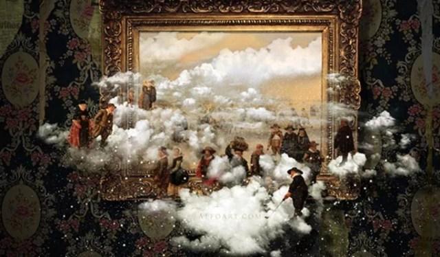 Skating in clouds Magic scene Photoshop