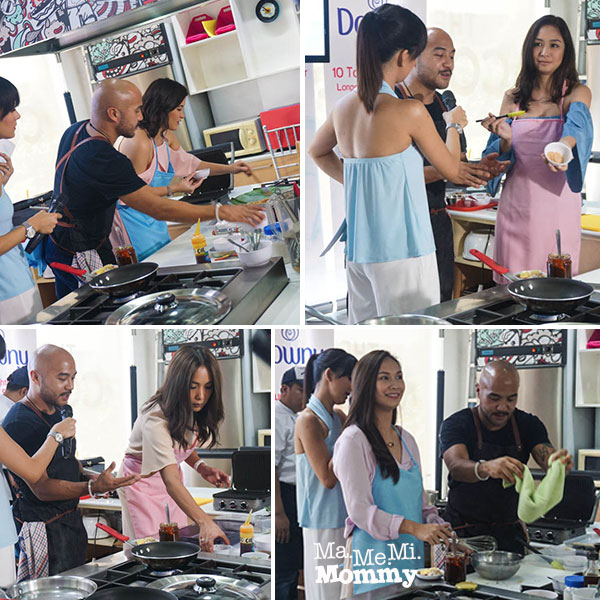 Celebrity moms helping Chef JP prepare the dishes