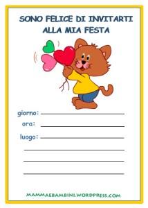 Biglietti invito compleanno:gattino con cuoricini in feste per bambini biglietti da stampare