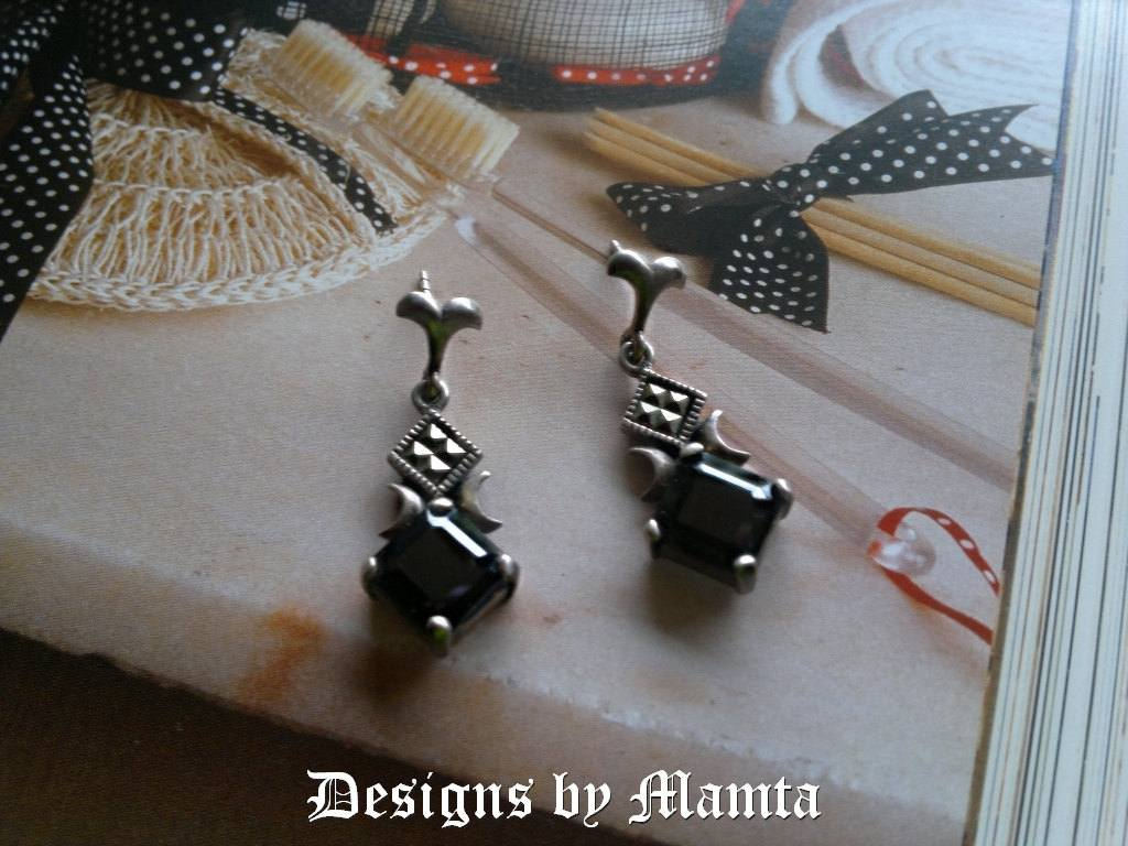 Italy Design Jewelry Black Onyx Earrings Han Italy