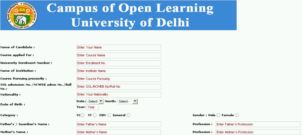 17 NATIONAL OPEN SCHOOL ADMISSION IN DELHI, IN DELHI SCHOOL OPEN - form for school admission