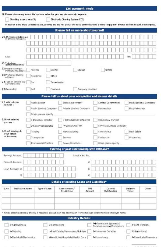 Citibank Personal Loan Application Form Pdf - ARCA-DIA