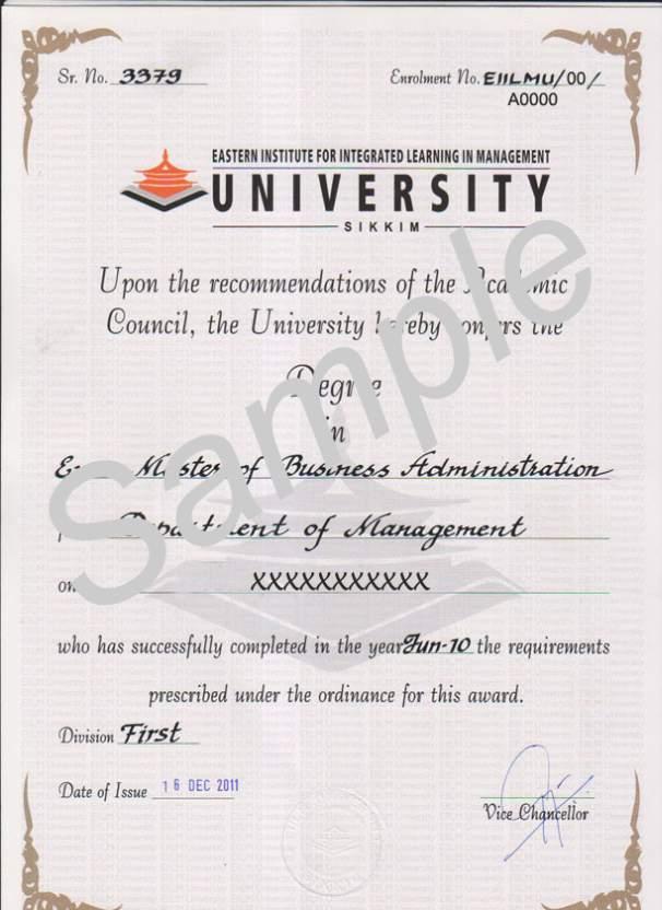 EIILM University Degree Certificate Sample - 2017 2018 Student Forum - samples certificate