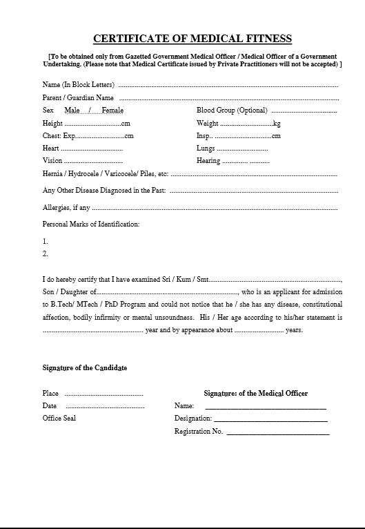 Medical Certificate Format Medical Certificate Form In Pdf Sample