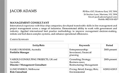 Resume  Editing Services Management Consulted - International Experience Resume