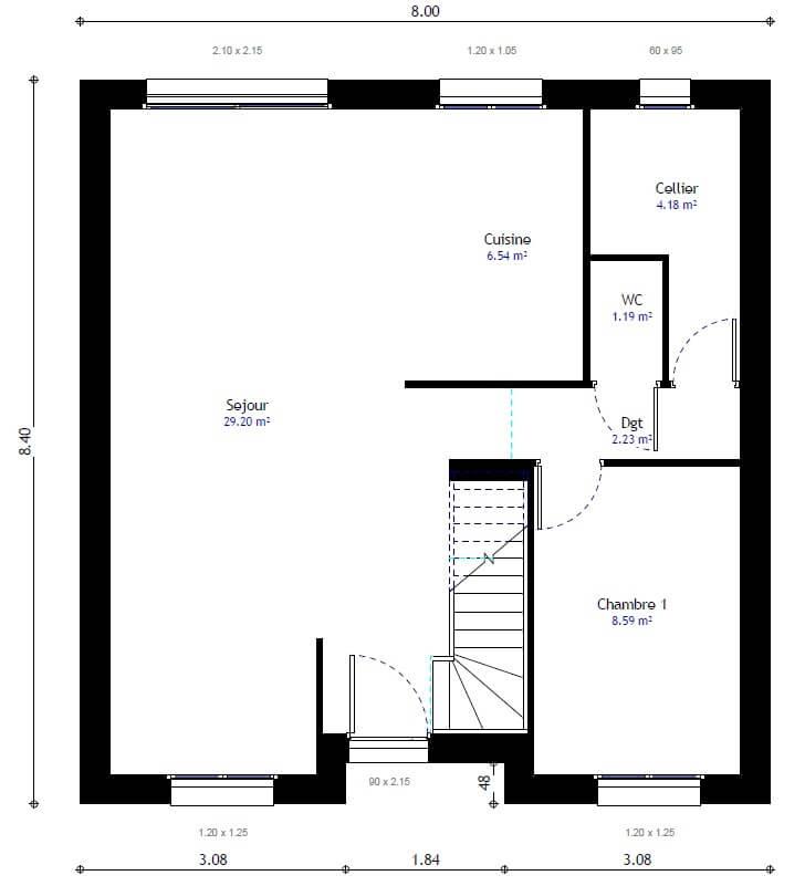 managergroupe-bdl web_content modeles 100-plan-maison - plan maison une chambre