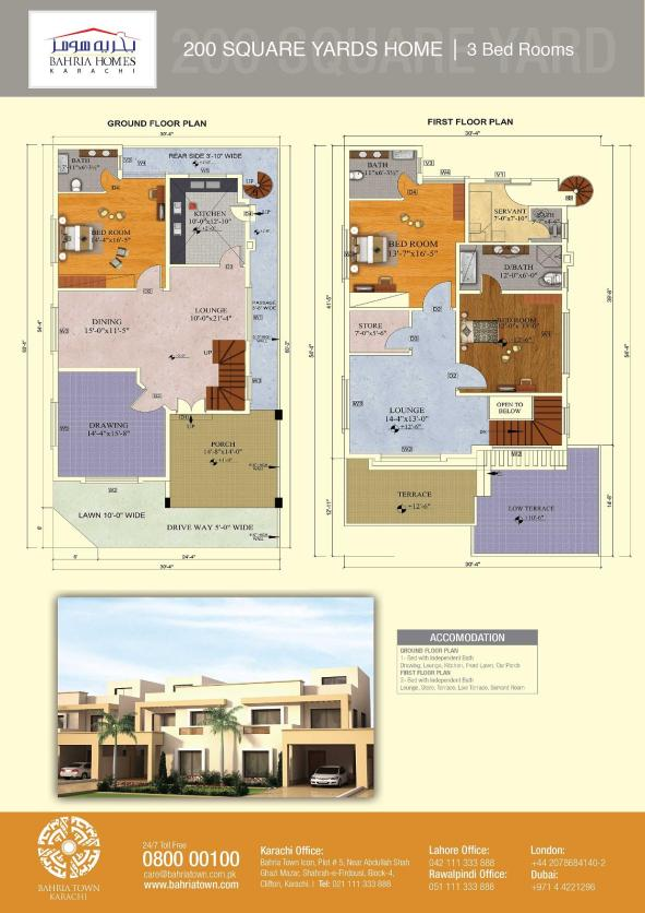 Floor Plans of 125 and 200 Sq.Yards Bahria Homes Karachi