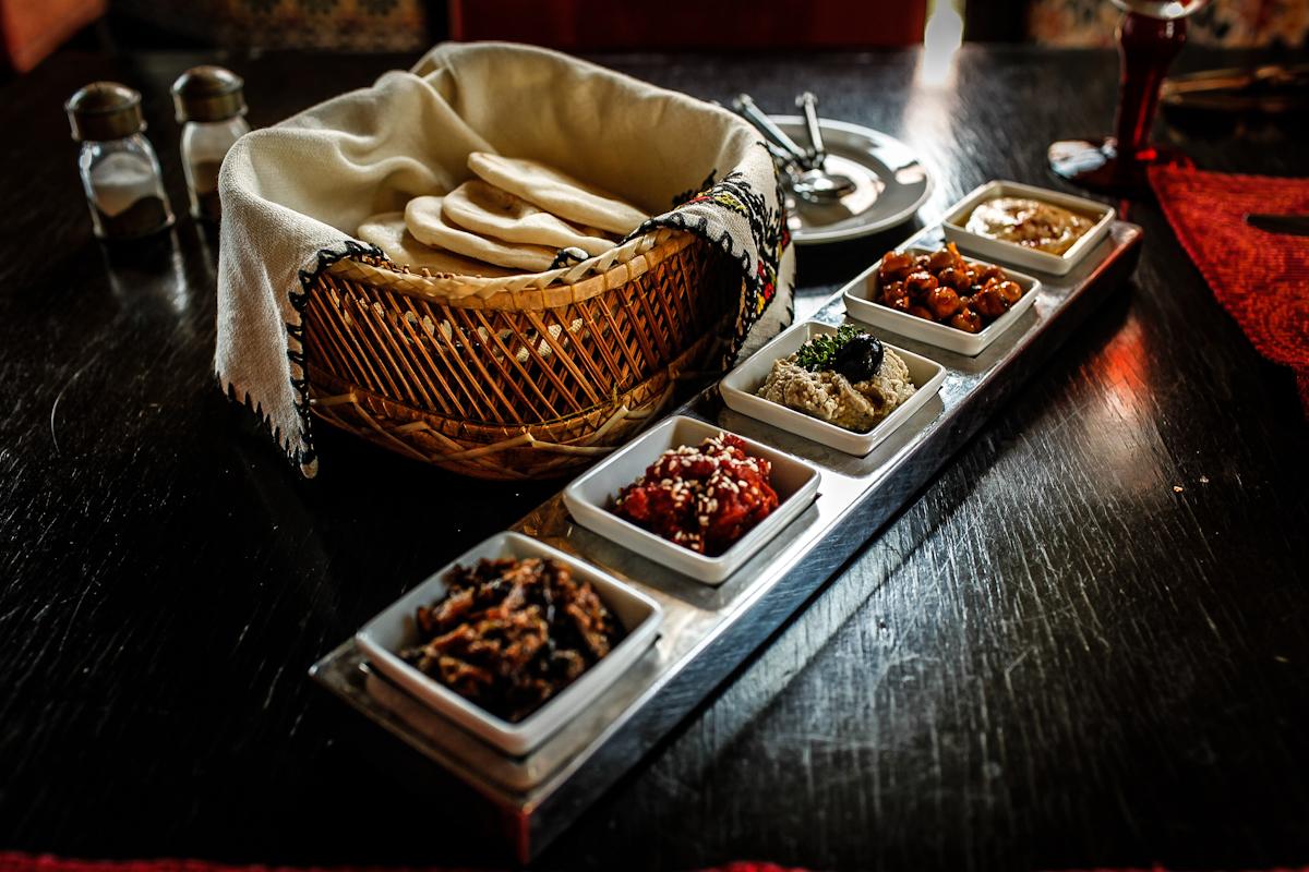 delicious starter plate of moroccan flavours in villa maroc pranburi