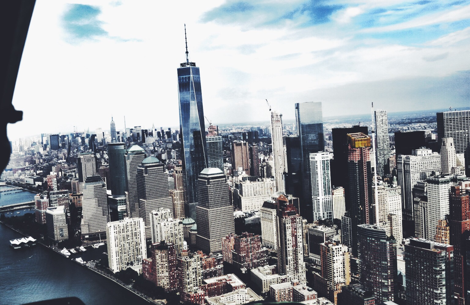 View over New York City from the helicopter