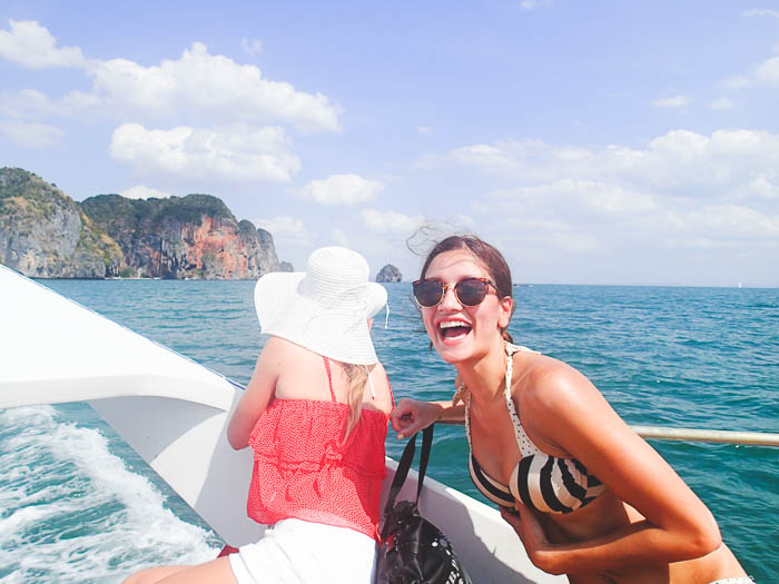 two girls on a boat