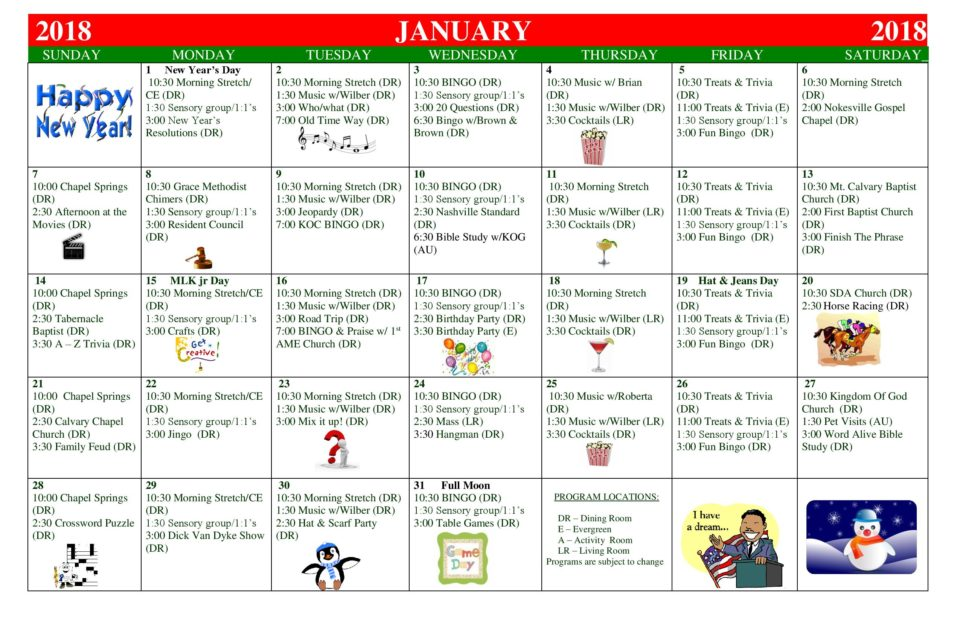 January 2018 Activities Calendar - Manassas Health  Rehab Center