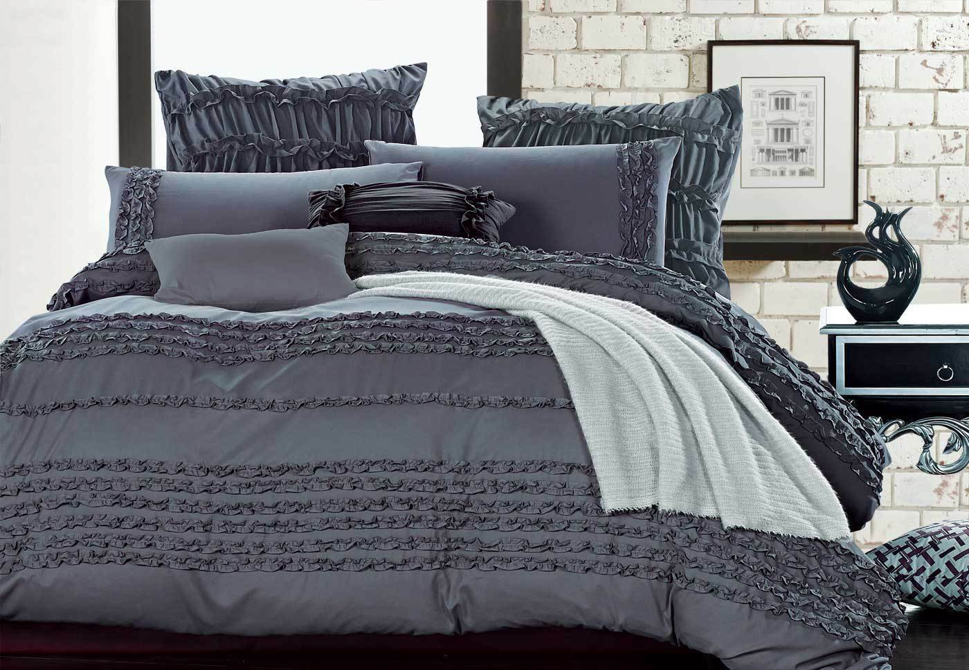 Queen Size Doona Covers Fabiano Slate Grey Quilt Cover Set King Queen Size