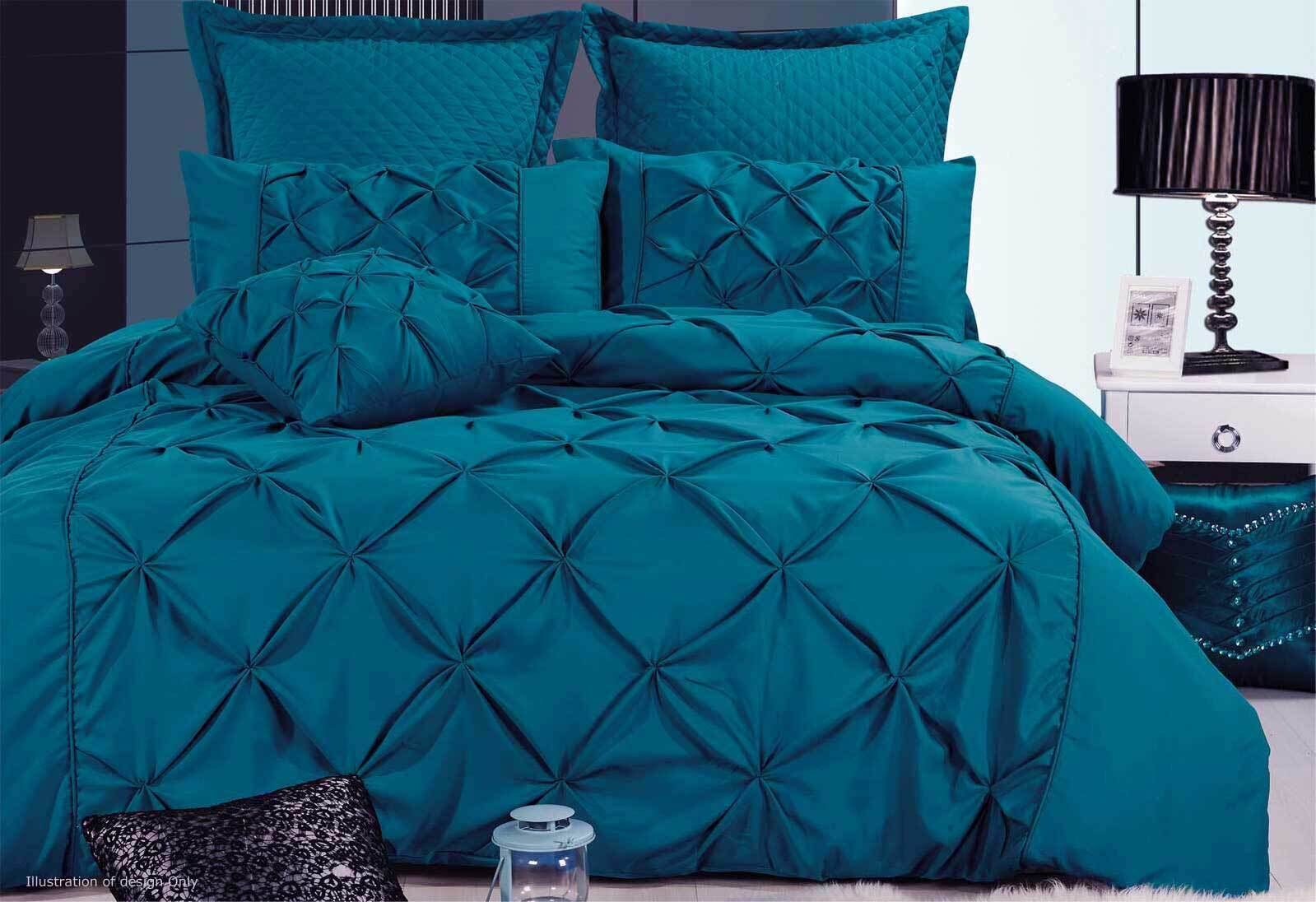 Teal Quilt Cover Luxton Fantine Teal Green Quilt Cover Set In King / Queen