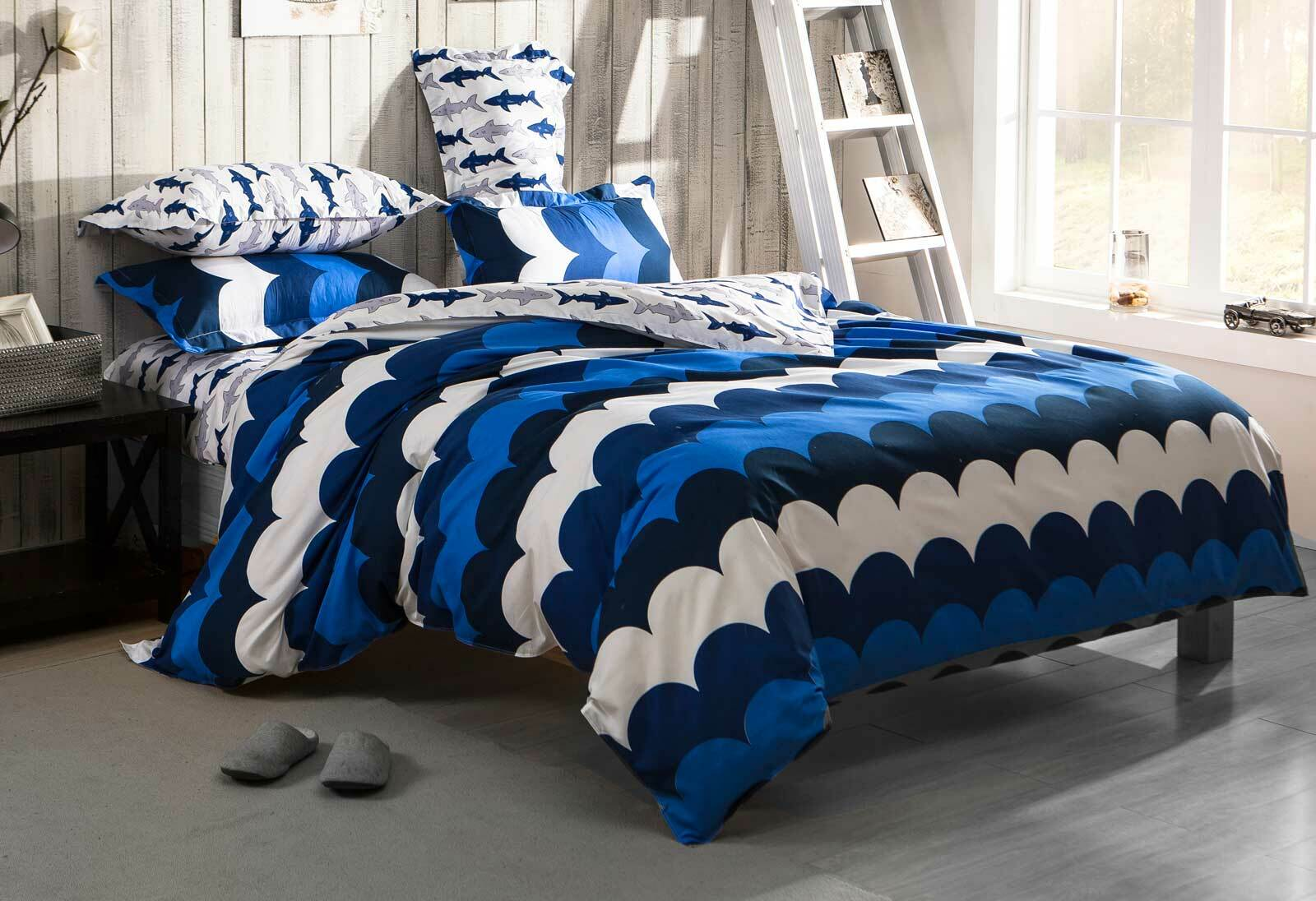 Queen Size Doona Covers Queen Size Surf On Bed Quilt Cover Set Navy Blue 3pcs
