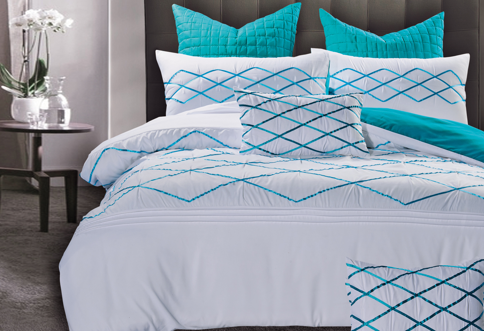 Turquoise Quilt Cover Adela White And Turquoise Blue Quilt Cover Set By Luxton