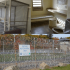 Photos of the Secure Psychiatric Unit of the State Prison for Men in Concord. Top left photo shows metal booths where some mentally ill patients receive group therapy. Top right shows a typical room at SPU. Below photo shows the prison fencing outside the unit.