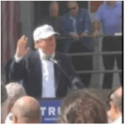 Donald Trump speaks at parking lot of former Osram Sylvania plant in Manchester on June 30.