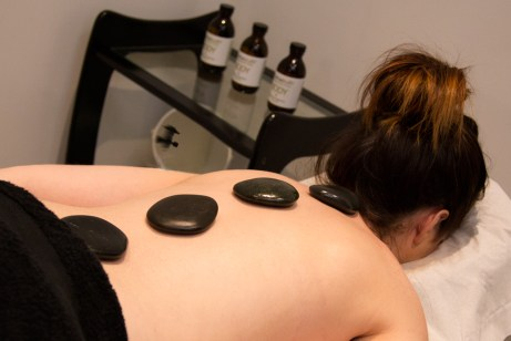 Hot stone massage at Didsbury Spa Exhale Therapy.