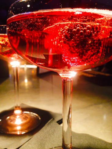 Moody bar lighting and cocktails at Malmaison Manchester