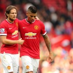 Daley Blind of Manchester United and Marcos Rojo of Manchester United at the end of the game