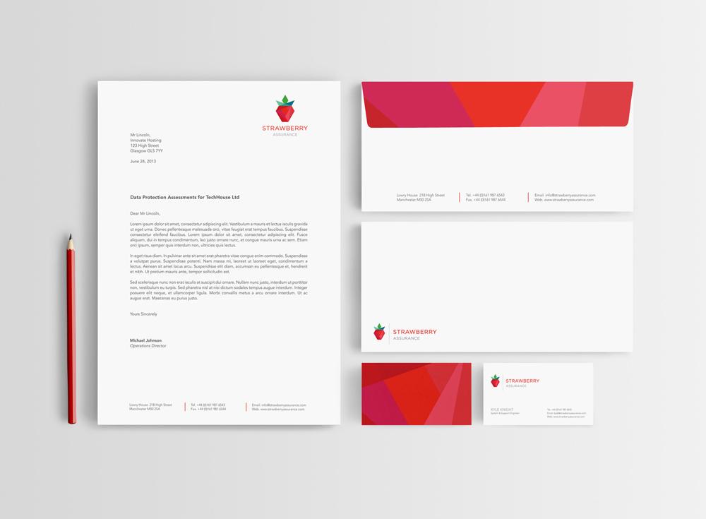 Strawberry Assurance - letterhead and envelope design