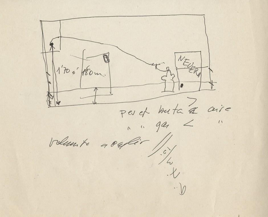 «Projecte del tècnic per fer el canvi de butà a gas natural» 1990 Tècnic anònim. Bolígraf negre sobre paper. 15 x 20 cm