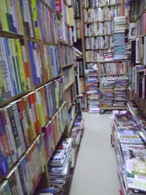 The inside of the bookstore, where used books are stuffed into every nook and cranny possible