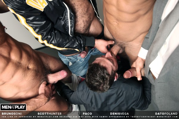 Power bottom Scott Hunter gets gangbanged in the gay porn scene The Line Up by Men At Play featuring Bruno Boni, Paco, Denis Vega and Dato Foland.