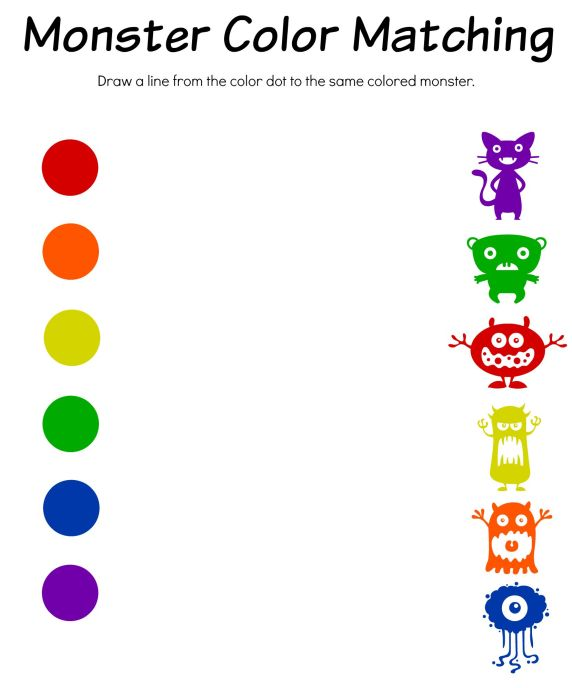 Monster Color Matching Printable