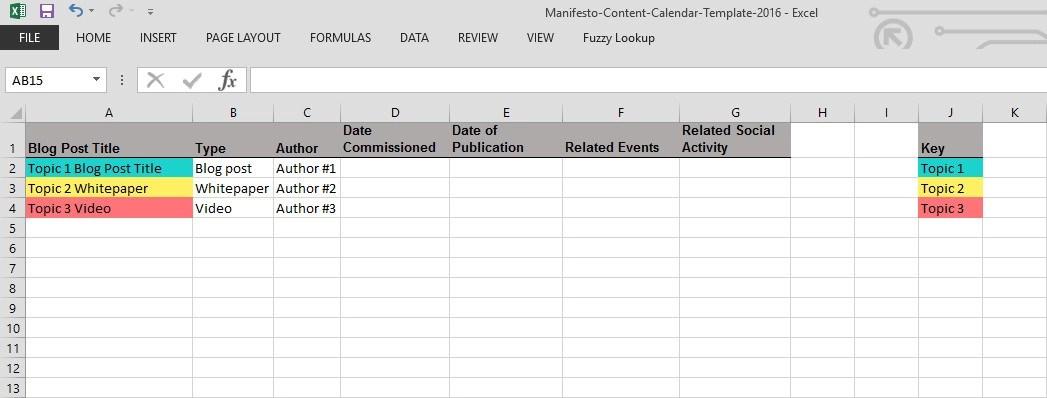 How to make a content calendar - 2016 template - Manifesto