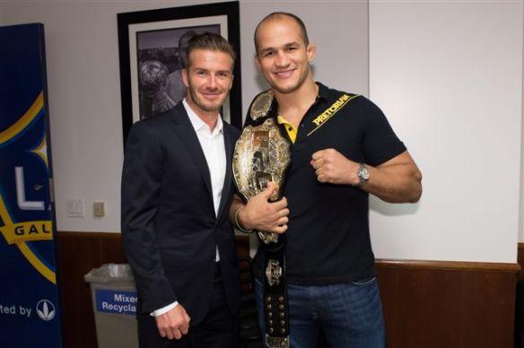 David Beckham and Junior Dos Santos at LA Galaxy for UFC