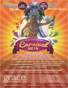Carnival Weekend comes to London from Grace Bar Piccadilly