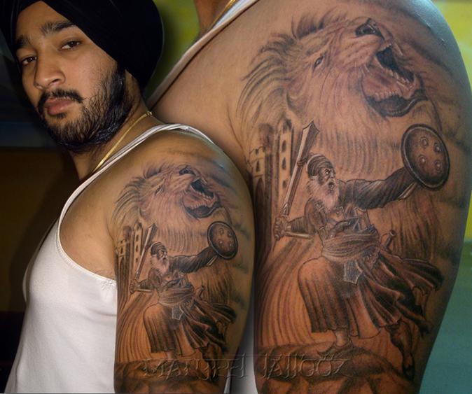 Baba Deep Singh Ji Wallpaper Hd Tattoo Baba Deep Singh Ji With Lion Best Tattoo Artist In
