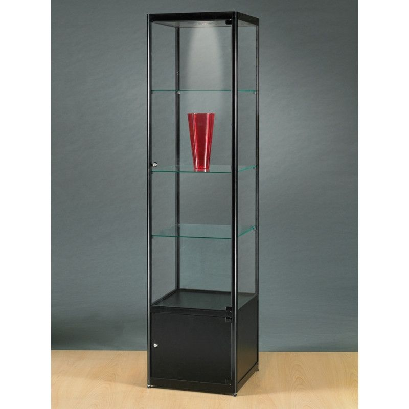 Eckvitrine Rund Standing Display Cabinet Glass Metal Black With Halogen