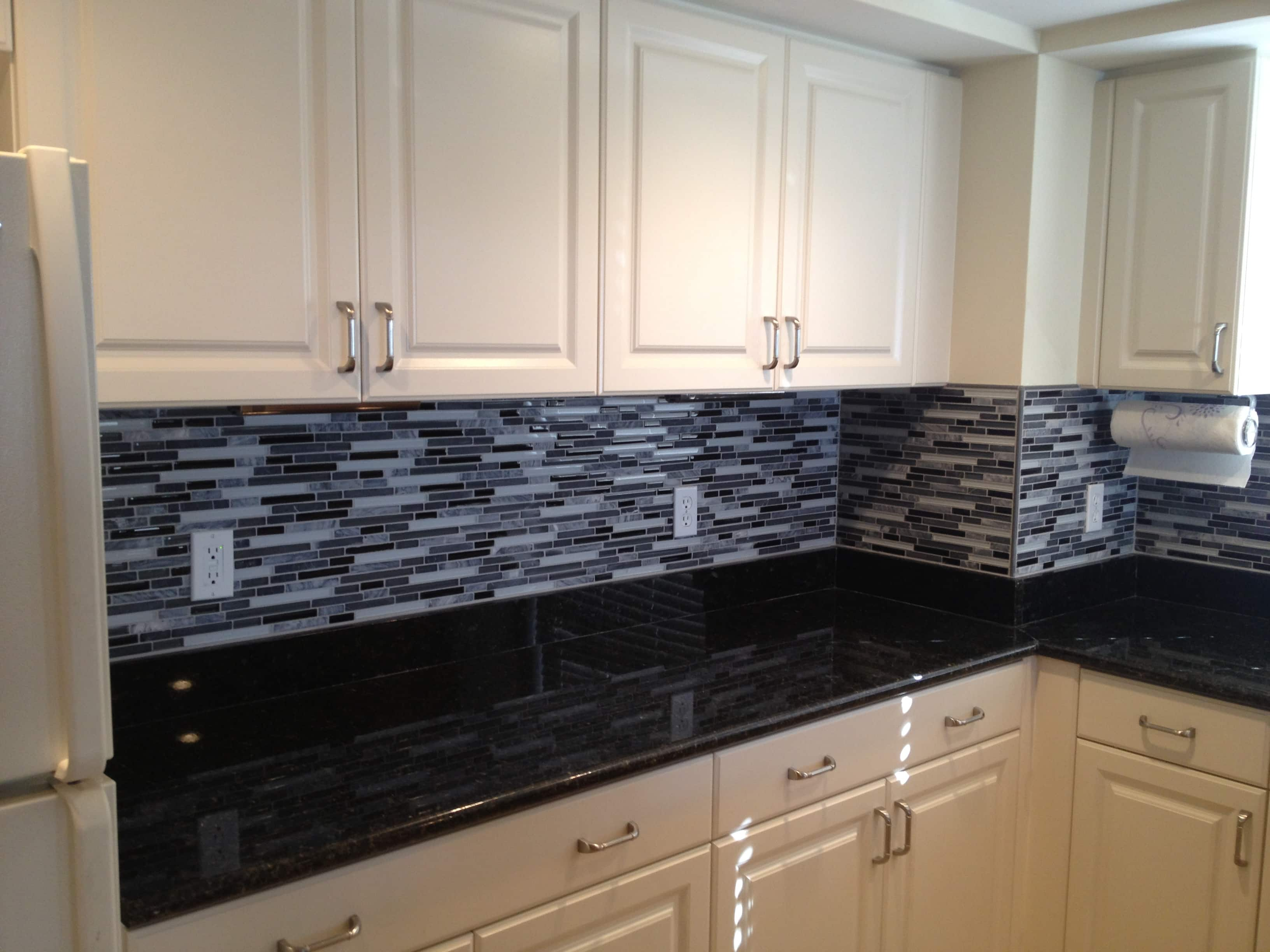 Dark Gray Backsplash Classic Black And White Kitchen The Glass And Stone