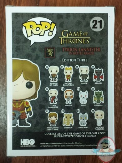 Small Tv Stand Pop! Game Of Thrones Series 3 Tyrion Lannister In Battle