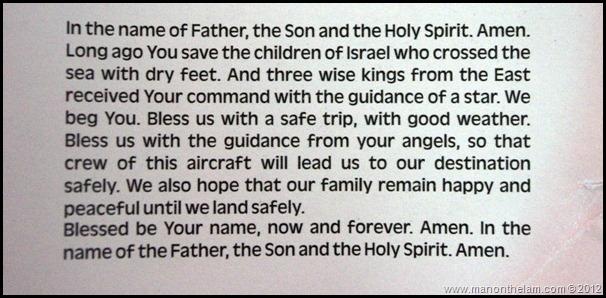 Lion Air Invocation Prayer card on plane -- Catholic Alaska Airlines