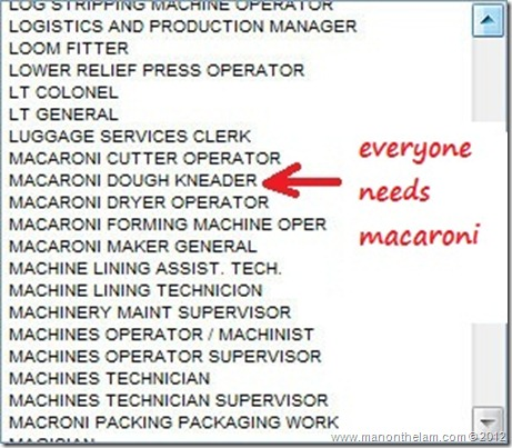 Funny Visa Application Job Titles -- Macaroni Dough Kneader