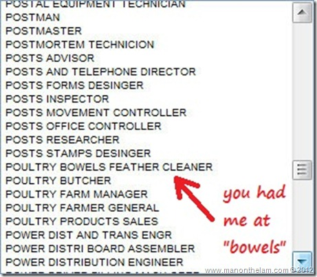 Funny Visa Application Job Titles -- Poultry Bowels Feather Cleaner