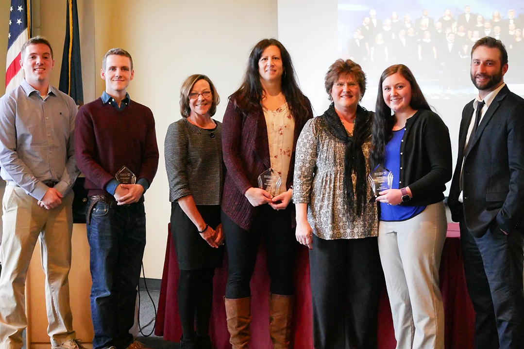 (L-R) Mike Stamp, Nick Best, Jackie Johnson, Ruth Hermansen, Jan Yoder, Angel King, Interim Dean of Students Frank Crofchick. Honoree Jesse Olson and nominators Jason Welch and Lindy Hampsher were unable to attend.