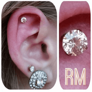 Helix piercing by Randy M with Neometal Jewelry