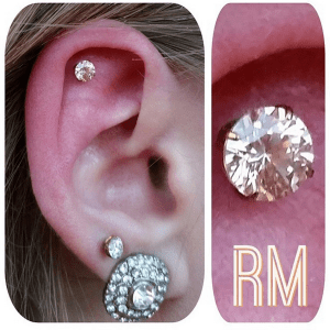 Helix piercing by Randy M with Neometal Jewelry