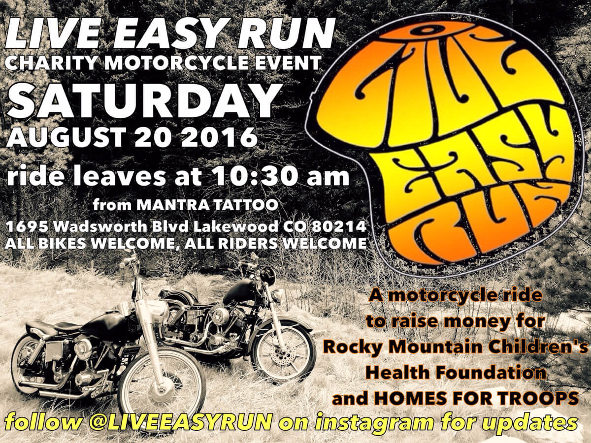 TOMORROW! LIVE EASY CHARITY MOTORCYCLE EVENT!